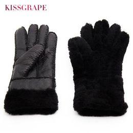 кожаные перчатки Скидка  New Winter Women's Warm Leather Gloves Female Thick Sheep Fur Gloves Outdoor Mittens Women Woollen Handmade Finger