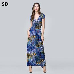 SD 2018 New Arrivals maxi dresses plus size Floral Print Boho Beach Dress  long club Robe for women Ladies Elegant Vestidos W78 9f00db27fb68