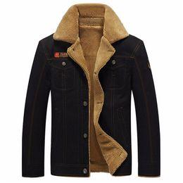 Wholesale Military Fur Coat Men - Winter Jacket Men Military Outerwear Tactical Air Force Pilot Bomber Jackets Mens Fur Collar jeans Coats 5XL jaqueta masculino