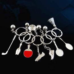 Deutschland Weltcup-persönlicher Fußball-Badminton-Tischtennis-Golf-Bowlingspiel-Tennis kreative Schlüsselringe Autoanhänger für freies Verschiffen A01 Versorgung
