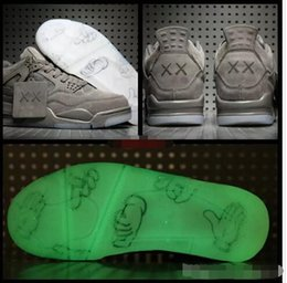 best low cut basketball shoes Promo Codes - 2018 KAWS x 4 XX Kaws Cool Grey White black Glow Basketball Shoes Mens Best Quality 4s White Blue black sports sneakers