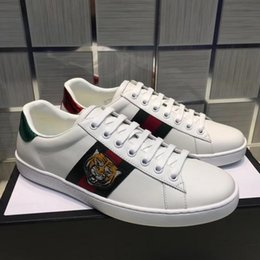 Wholesale Gift Women - Top Quality ACE embroidered white black tiger shoes Gift Genuine Leather Designer Sneaker Luxury Brand Mens Women Casual Shoes size 35-45
