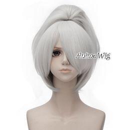 Cosplay negro mas oscuro online-Anime más oscuro que negro Yin 30cm corto blanco plateado Cosplay peluca + 50CM Ponytail