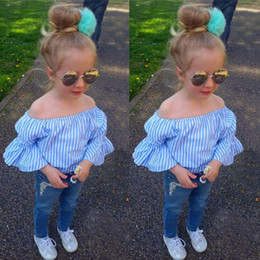 popular suit styles Promo Codes - New Girls Cowboys Popular Denim Pants Fashion Striped Blue T-shirts and Long Pants 2pcs Children Suit
