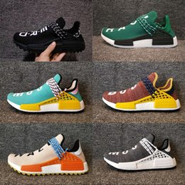 Wholesale Cheap Blue Tops - 2018 NMD Human Race Pharrell Williams Hu trail NERD Cheap Men Womens Running Shoes NMD Top Quality Yellow Blue sports Shoes size 36-47