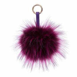 Wholesale resin boy ornament - 15cm Fluffy Raccoon Fur Ball Keychain Pom Pom Key Chains Bag Car Ornaments Pendant Key Rings Llaveros Mujer Chaveiro Carro