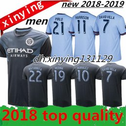 Wholesale Man City Soccer Jerseys - New York city FC Home Soccer Jersey 2018 2019 away MORALEZ DAVID VILLA LAMPARD PIRLO Football Shirt 18 19 Thai quality Free shipping