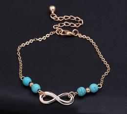 Bracelets de cheville pour dames en Ligne-8 caractères perles cheville infinie 4 perles bleues pendentif or charme dames été cheville bijoux de mode bonne chance D936L