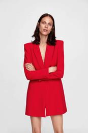 Красные дамские блейзеры онлайн-Женщины blazer пальто топы осень 2018 новый тонкий куртка женская мода костюм черный красный сплошной цвет блейзер формальная одежда