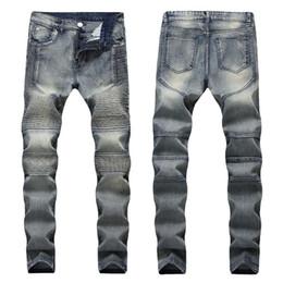 Hommes Distressed Biker Jeans Élastiques Golded Siliver VINTAGE Plissé Designer Slim Fit Hommes Moto Moto Denim Hip Hop Pantalons Pour Hommes ? partir de fabricateur