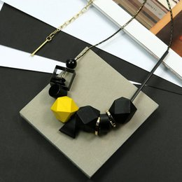 c4fe4d115205 New Woman Necklaces Big Geometric Wood Beads Peadant Necklaces Color  Blocking High Quality Fashion Jewelry Sweater Accessories