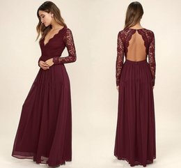 Burgundy Chiffon Bridesmaid Dresses Long Sleeves Western Country Style V  Neck-Backless Long Beach Lace Top Wedding Party Dresses Cheap chiffon  western top ... 2fc1e346a77a