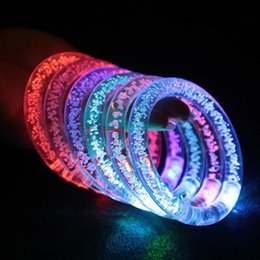 Wholesale Colorful Light Bubble - 2017 New personality LED colorful bubble light bracelet concert supplies Christmas Halloween party light-up children's toys