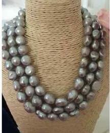 """Triple rangée de perles des mers du sud en Ligne-Nouveau 1026 + + + triple brins 9-10mm collier de perles gris baroque de la mer du Sud * """"19"""" 20 """""""