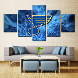 Wholesale Team Wall - St. Louis Blues Ice Hockey Oil Painting Canvas Sport Team Logo for Wall Art Home & Living Room Decor Customized and Wholesale