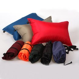 Wholesale backpacking pillow - Automatic Inflatable Pillow Waterproof Oxford Cloth Sponge Back Cushion Soft Moisture Proof Non Slip Camping Pillows Portable 8 5hl B