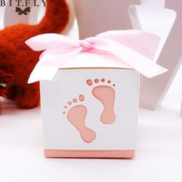 Детские ножные ленты онлайн-след ленты 10 шт. Baby Foot Конфеты Коробка Сладкая Сумка Baby Shower Следы На Пляже Пользу Бесплатная Лента Для Дня Рождения свадьбу
