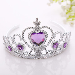 Wholesale White Plastic Hoops - New Frozen Crown Twinkle Hair Accessories For Girls Princess Bridal Crown Crystal Diamond Tiara Hoop Headband Hair Bands