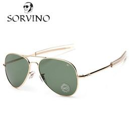 Wholesale military framing - SORVINO 2018 Military AO American Optical Lens Sunglasses Men Brand Design Army Aviator Sunglasses 90s James Bond Male Sun Glasses
