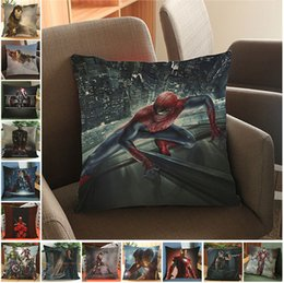 Wholesale iron 45 - 14 Colors Batman Pillow Case 45*45CM Justice League Iron Man Pillow Pillowcase Cushion Without Filling Decorative Pillow Mats AAA326