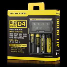 Aa li cargador online-Cargador de batería Nitecore D4 100% original LCD Cargador inteligente Li-ion 18650 14500 16340 26650 AAA AA 12V Cargador de batería