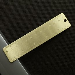 Wholesale accurate metals - Brass Yellow Ruler Straight Scale EDC Metal Small Range Portable Accurate Double Scales Foraminate Bookmarks Rulers 3zy iiWW