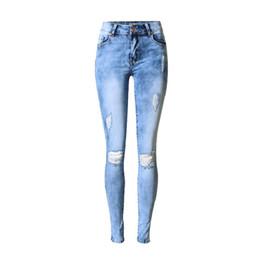 5ffe6766d390 Frauen Mode Loch Zerrissene Jeans Washed Gebleichte Hose Stretchy Denim  Hose Damen Elastizität Skinny Jeans günstige gewaschen jeans frauen