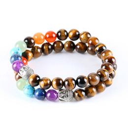 Wholesale black stone jewellery - 8mm Natural Round Stone Tiger Eye Beads Buddha Bracelets 7 Chakra Healing Mala Meditation Prayer Yoga Jewellery