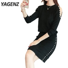 Wholesale Black Knit Skirt Suit - YAGENZ 2-piece Set Women Knitwear Sets Autumn Slim Sexy O neck Pullover Tops+skirt Two-piece Sweater Knitting Fashion Suit Sets