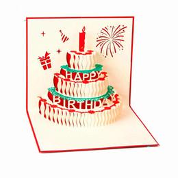 Wholesale Birthday Invitations Custom - H&D 3D Handmade Custom Birthday Invitations Cards Wishes Messages Greeting Gift Cards Postcards Vintage Laser Cut Pop Up Cake