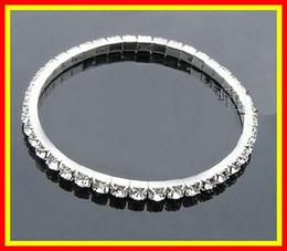 Wholesale Rhinestones Bangle Bracelets - 2017 15005 In Stock Silver Rhinestone 1 Row Stretch Bangle Junior Prom Homecoming Wedding Party Jewelry Bracelet Bridal Accessories 15-005