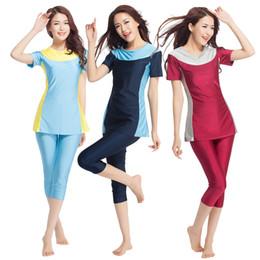 8fb8878af1a9b Women Two-piece Muslim Swimwear Short Sleeve Full Coverage Islamic  Swimsuits Patchwork Beachwear Modest Bathing Suit Lady XX-387