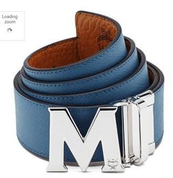 auto vinyl blau Rabatt Kalbsleder BELT Top Qualität Togo Epsom REVERSIBEL Große Schnalle Blau Braun Männer Reversible Gürtel mit Box