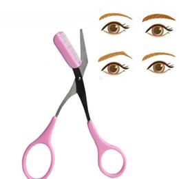 красота брови ножницы Скидка 1PC Fashion Elegant Women Ladies Eyebrow Trimmer Comb Eyelash Hair Scissors Cutter Remover  Beauty Tools