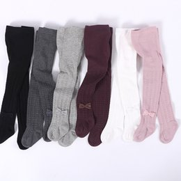 Wholesale Girls Lace Pantyhose - 6 colors Baby solid color jacquard leggings Toddlers Girls striped jacquard lace bow pantyhose baby warm tights spring autumn for 0-6T