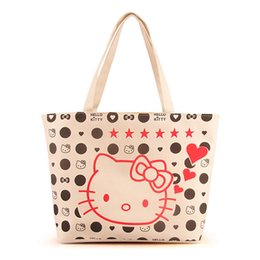 Wholesale Kitty Tote Bag - Cartoon Hellokitty Canvas Tote Bag Women Handbag Shoulder Bags Women Shopping Bags Beach Bag Kitty Cat Handbag