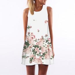 Wholesale Girls Hot Night Dresses - Women Vestidos Summer Dresses Vintage Sleeveless 3D Floral Print Short Mini Dress Tops 2018 Hot Sale Sundress Beach Dress Girls