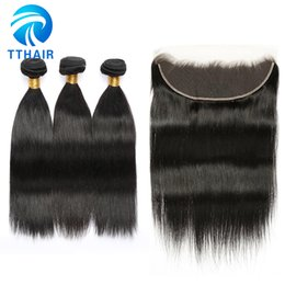Wholesale Pure Hair Colour - Brazilian Indian Peruvian 3 Bundles Straigh Wave With 13*4 Ear To Ear Lace Front Natural Colour Unprocessed Remy Human Hair Weave