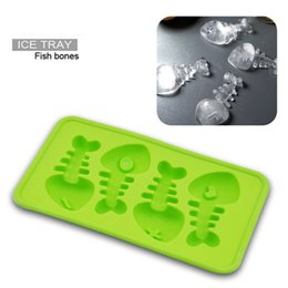 Wholesale Iced Fish - 20*11*2cm Fish Shaped Ice Cubes Silicone Ice Cream Tray Mold 5 Colors Pudding Maker Gadgets Fit for - 40~230Degree