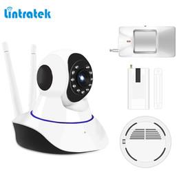 Wholesale Gsm Smoke Detector Alarm - lintratek Alarm System kits hd 720P IP Camera with PIR Motion Sensor, Smoke Detector, Window Sensor Suitabe for 433mhz GSM Alarm