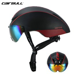Wholesale magnetic goggles - 2018 Cairbull Aero-R1 Magnetic Suction Lens Helmets Bike In-mold TT Helmet Road Racing Bicycle Pneumatic Goggles Helmets 54-60cm TK09
