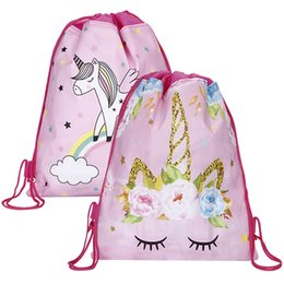 birthday packages Coupons - Unicorn Drawstring bag for Girls Travel Storage Package Cartoon School Backpacks Children Birthday Party Favors