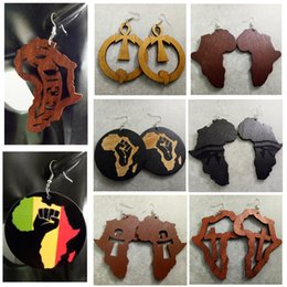 Wholesale free map - Fashion Mixed styles Africa Map ANKH Love Wooden Wood Hip Hop Ladies Womens Earrings Free Shipping Wholesale
