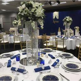 Wholesale Wedding Cake Crystal Chandelier - Free shipping 70CM(H) Wedding Crystal Table centerpiece Silver Flower Stand Wedding Chandelier Wedding Table Centerpieces for Flowers