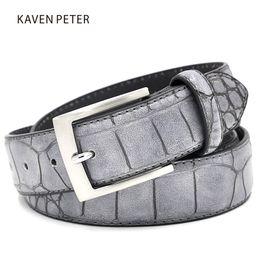 Wholesale Wholesale Designer Mens Belts - Mens Fashion Waist Belts Faux Crocodile Pattern Belts With Split Leather Luxury Crocodile Belt Men Designer Accessories