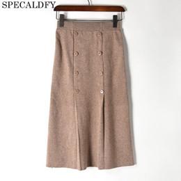 Wholesale Front Pencil Skirt - Autumn Winter Knitted Skirts Women Front Button Sexy Slim Pencil Skirt High Waist 2018 Woman Office Mid-Calf Skirt Jupe Femme