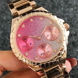 Montre femme ouro rosa on-line-Marca de moda das mulheres relógios de grife elegante Senhoras vestido de diamantes cheios de relógio de ouro rosa relógio de pulso de aço inoxidável relógio de quartzo montre femme