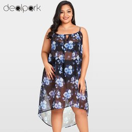 Wholesale Sheer Chiffon Blouse Wholesale - Sexy Women Sheer Chiffon Shirts Floral Bikini Cover Ups Transparent Sleeveless Asymmetric Beachwear 3XL Plus Size Summer Blouses