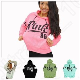 Wholesale Hooded Sweater Shirt - Free Shipping Pink Letter Hoodie Pink Pullover Tops Brand Shirt Coat Sweatshirt Long Sleeve Hoodies Casual Sweater Fashion Hooded Coat