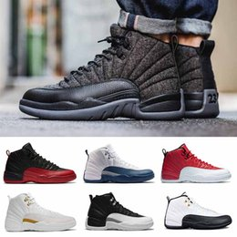 Wholesale Purple Athletic Shoes - Hot Sale 12 XII Basketball Shoes White Black wool GS Barons flu game taxi playoffs University blue Athletics Sneakers Sports shoes us 8-13